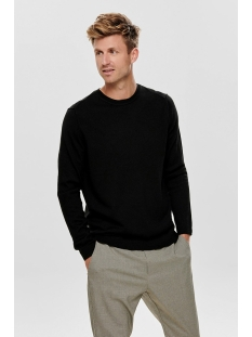 onstyler 12  m crew neck knit noos 22014162 only & sons trui black