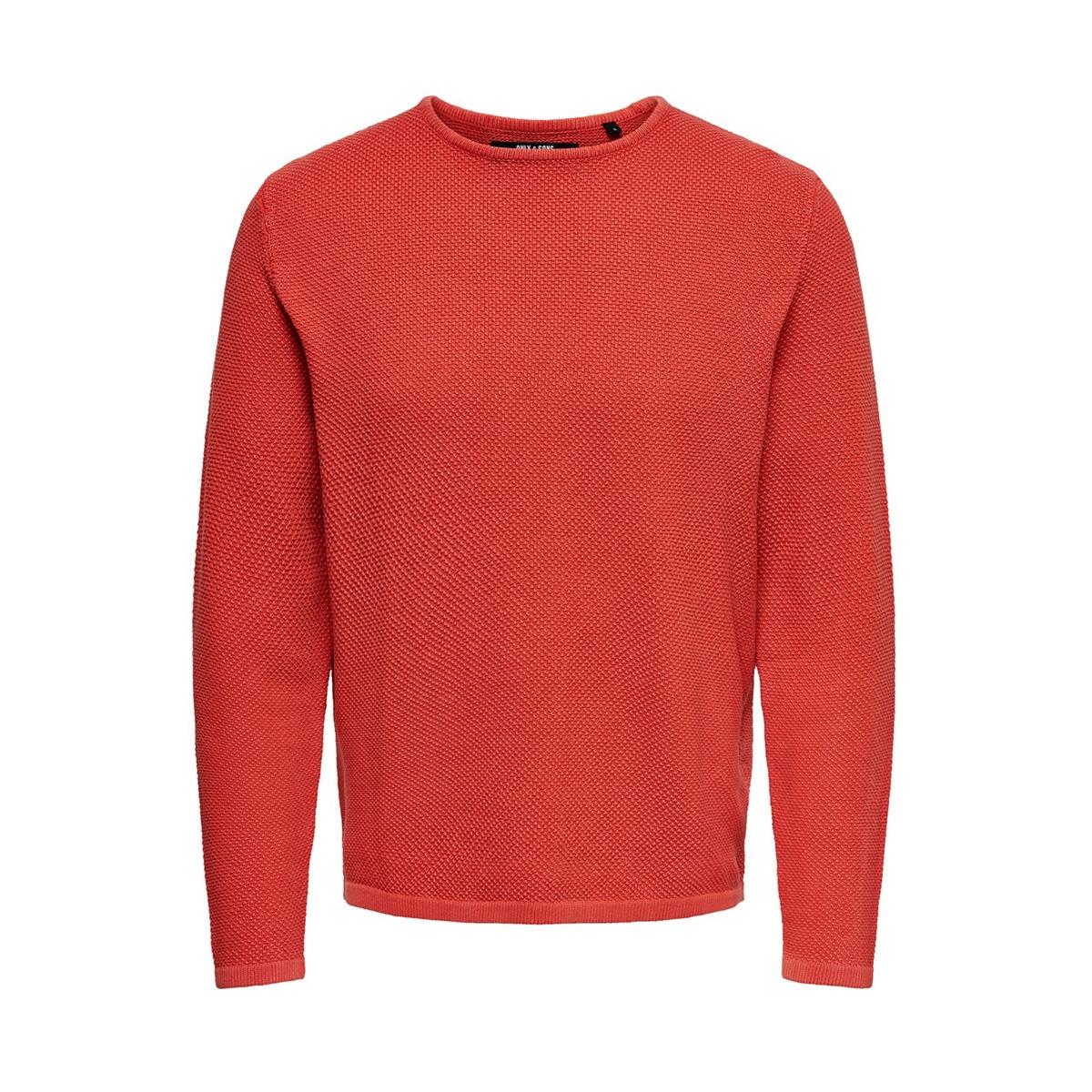 onshugh line crew knit noos 22007422 only & sons trui aura orange