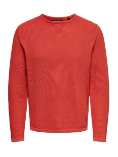 Only & Sons Trui ONSHUGH LINE CREW KNIT NOOS 22007422 Aura Orange