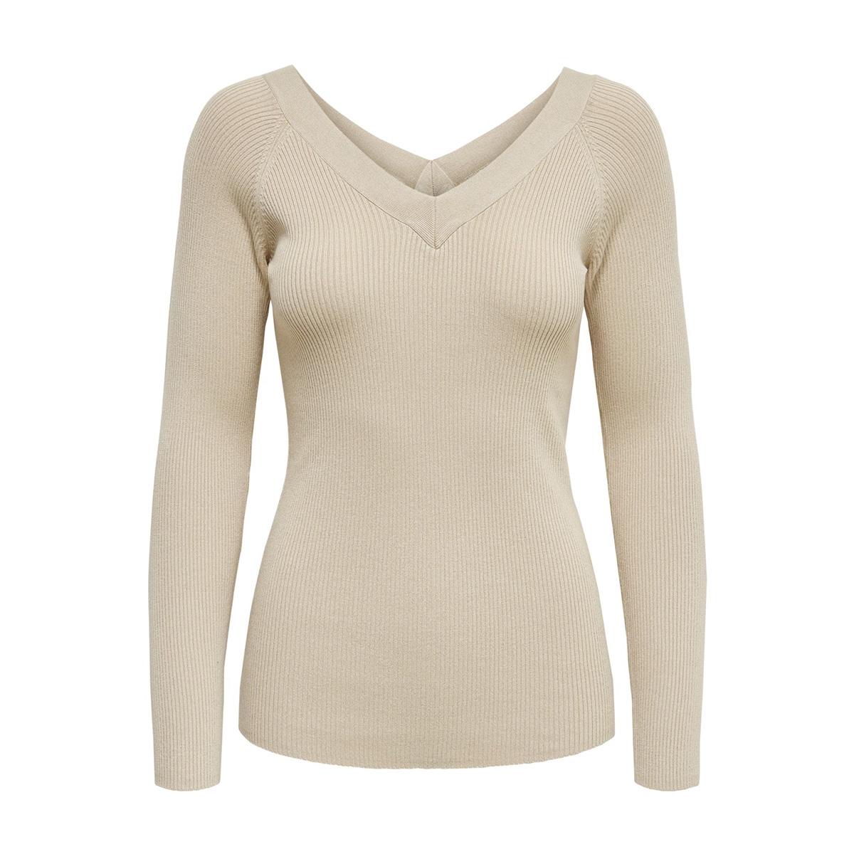 jdypippa treats l/s v-neck pullover 15176700 jacqueline de yong trui oatmeal