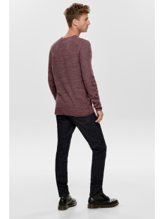 onswictor 12  structure crew neck n 22012290 only & sons trui zinfandel