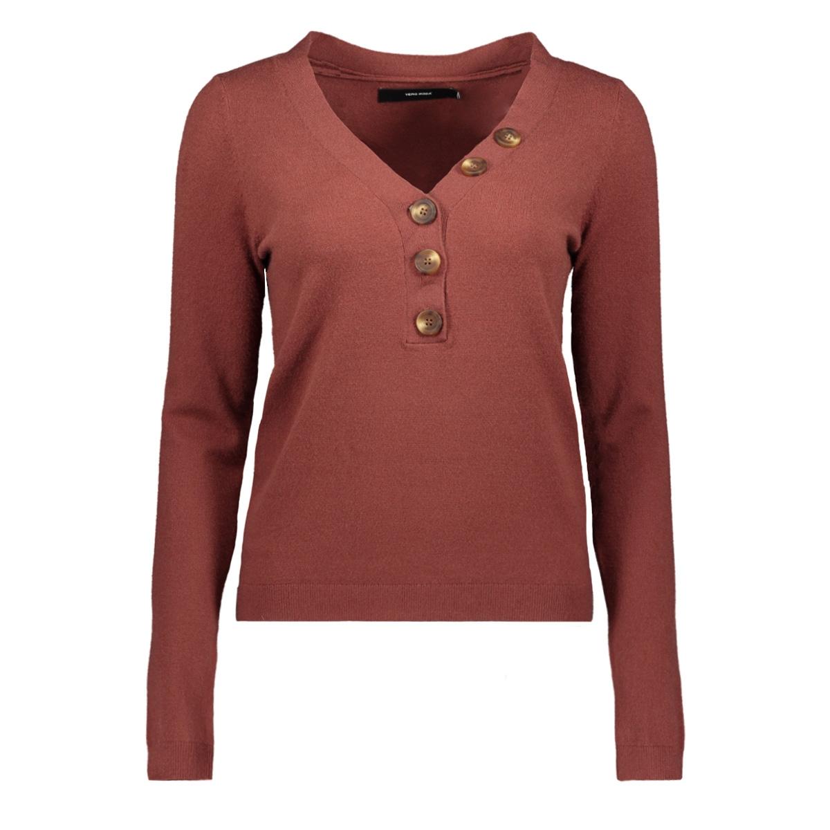 vmchip karis ls v-neck button blous 10215761 vero moda trui mahogany