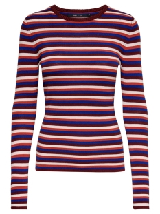 onyessie l/s pullover knt 15185519 only trui tawny port/w. blue qu