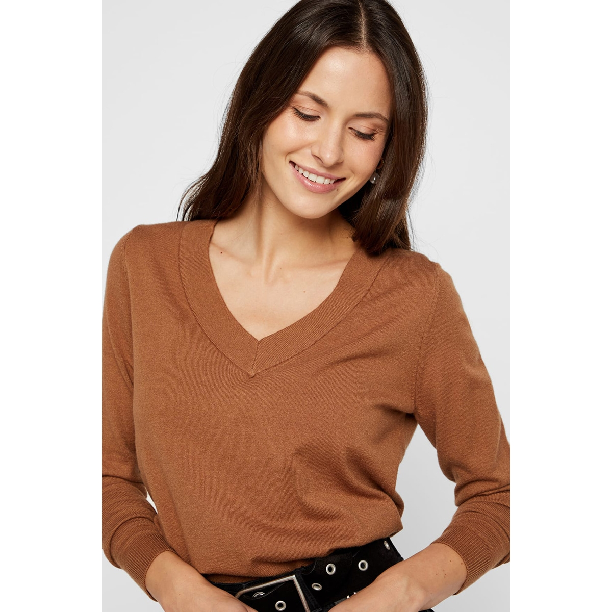 pckalissa ls v-neck knit 17098914 pieces trui toasted coconut