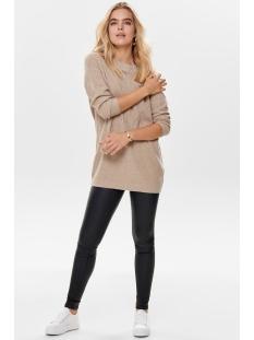 jdyportia l/s long pullover knt 15178976 jacqueline de yong trui beige/melange