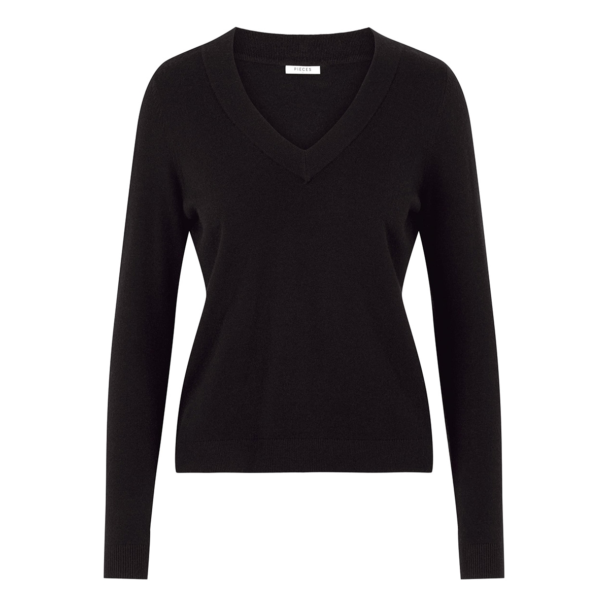 pckalissa ls v-neck knit 17098914 pieces trui black