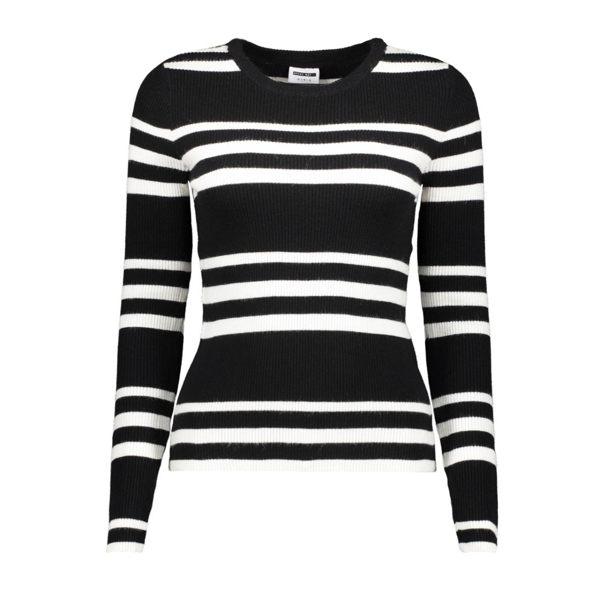 nmanthony l/s o-neck knit clr 27008300 noisy may trui black/sugar swizzle