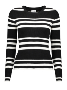 Noisy may Trui NMANTHONY L/S O-NECK KNIT CLR 27008300 Black/SUGAR SWIZZLE