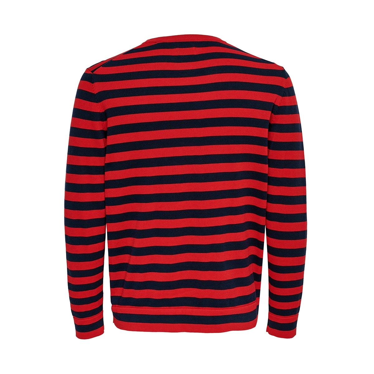 onsalex 12  crew neck knit 22014779 only & sons trui pompeian red/black
