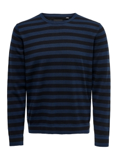 Only & Sons Trui ONSALEX 12  CREW NECK KNIT 22014779 Dress Blues/BLACK