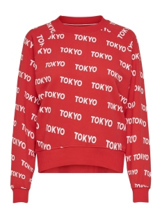 Only sweater ONLAUBREE L/S O-NECK SWEAT SWT 15186544 Tomato/BRIGHT WHITE