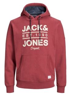 Jack & Jones sweater JORUPTON SWEAT HOOD 12158170 Brick Red/SLIM