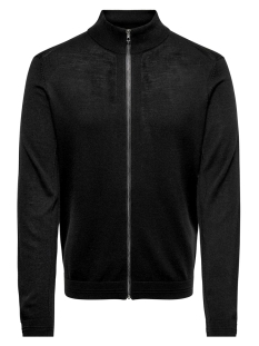 Only & Sons Vest ONSTYLER 12  M ZIP CARDIGAN KNIT NO 22014164 Black