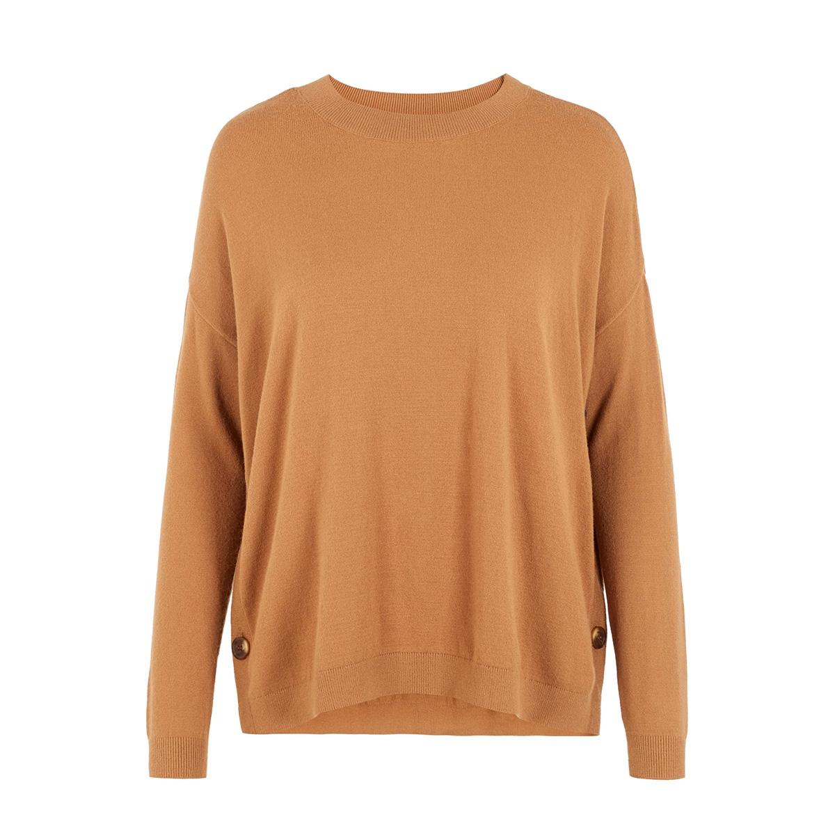 vmchou karis ls o-neck button blous 10215206 vero moda trui tobacco brown