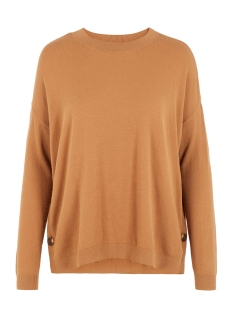 Vero Moda Trui VMCHOU KARIS LS O-NECK BUTTON BLOUS 10215206 Tobacco Brown