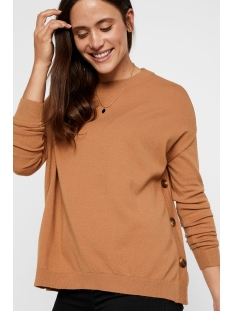 vmchou karis ls o-neck button blous 10215206 vero moda trui tobacco brown