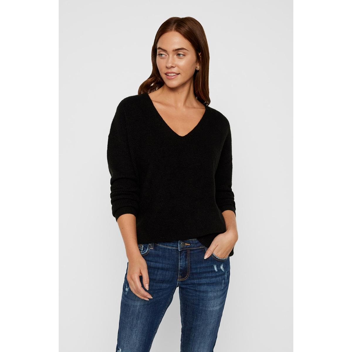 vmblakely iva ls v-neck rib blouse 10219172 vero moda trui black/solid
