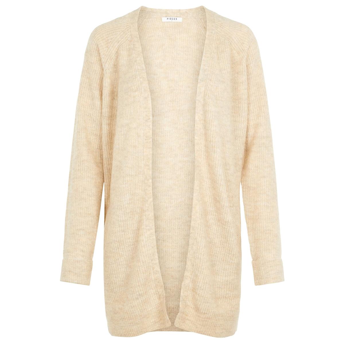 pcellen ls long knit cardigan noos 17098266 pieces vest white pepper