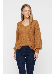 vmpoca ls v-neck rib blouse boo 10215242 vero moda trui tobacco brown/w. white m