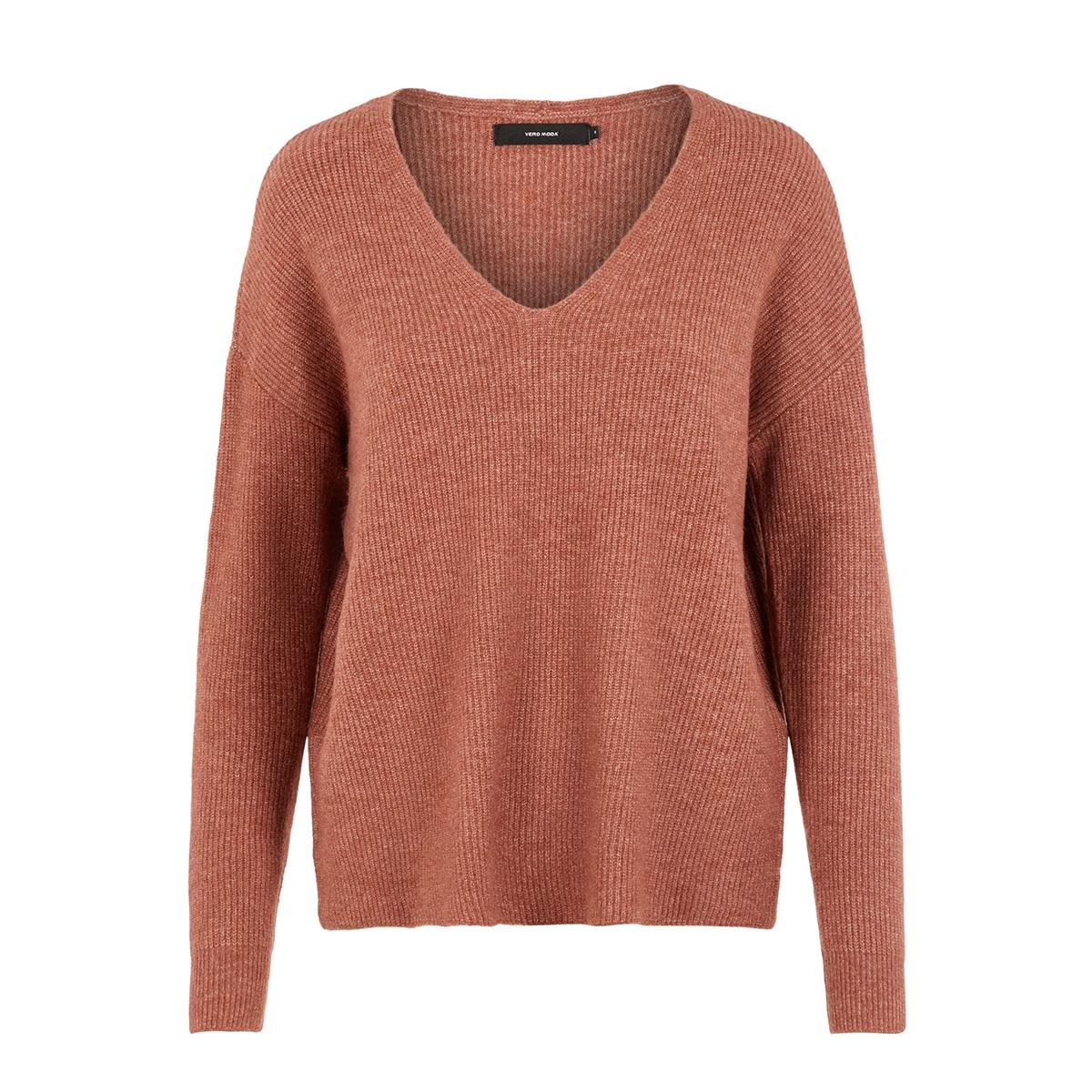 vmblakely iva ls v-neck rib blouse 10215456 vero moda trui mahogany/melange
