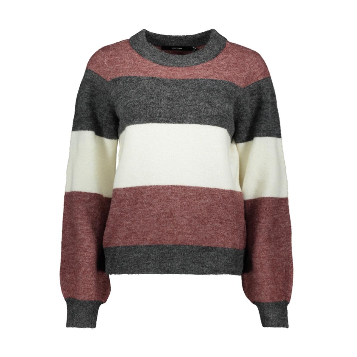 vmabbia ls o-neck blouse 10217866 vero moda trui dark grey melan/w. madder
