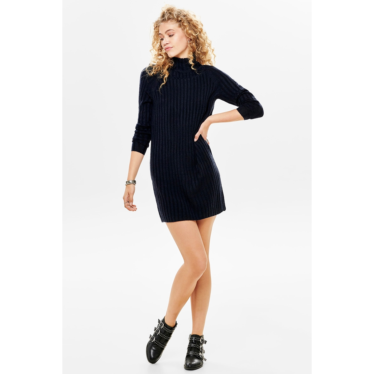 onlnew miramar l/s dress knt 15187648 only trui night sky/w. melange