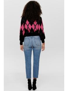 onqhanna l/s jacquard pullover knt 15188996 only trui black/w. dark si