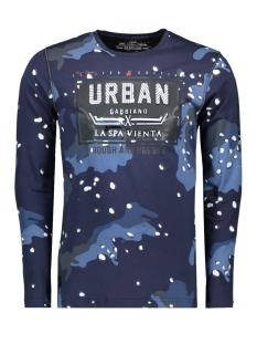 t shirt allover print en tekst 13858 gabbiano t-shirt navy