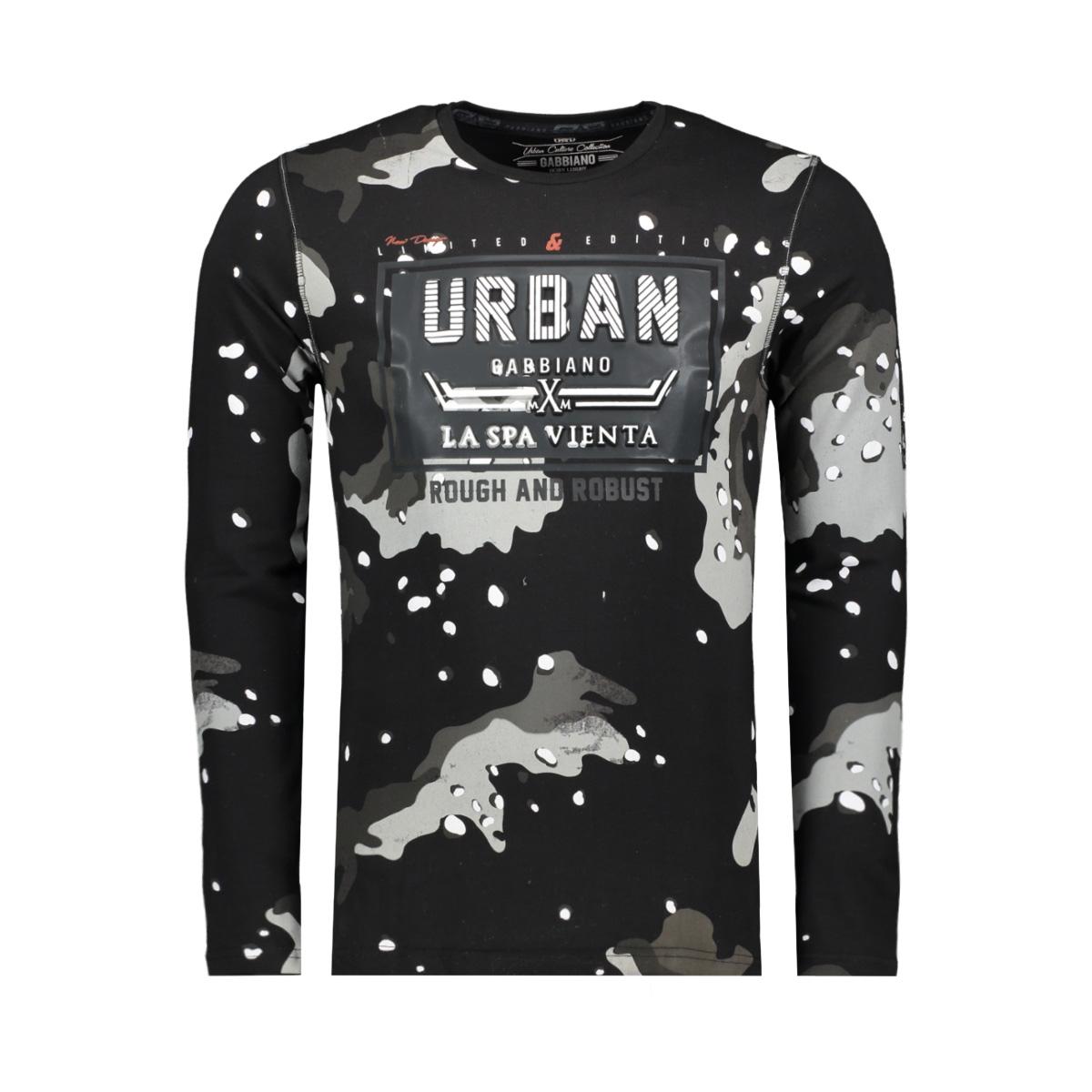 t shirt allover print en tekst 13858 gabbiano t-shirt black