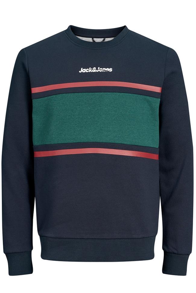 jorcaine sweat crew neck 12161871 jack & jones sweater navy blazer/slim