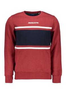 jorcaine sweat crew neck 12161871 jack & jones sweater brick red/slim