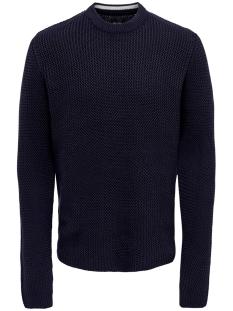 onshansen 1,5 struc crew neck knit 22014431 only & sons trui dark navy