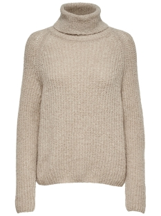 onlvega l/s rn pullover wool knt no 15167140 only trui sand/w. melange