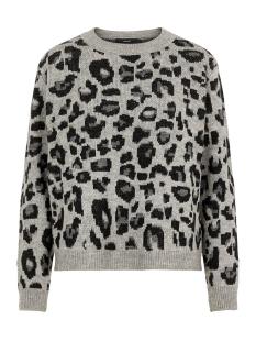 vmleo ls o-neck blouse 10221502 vero moda trui silver sconce/w. black