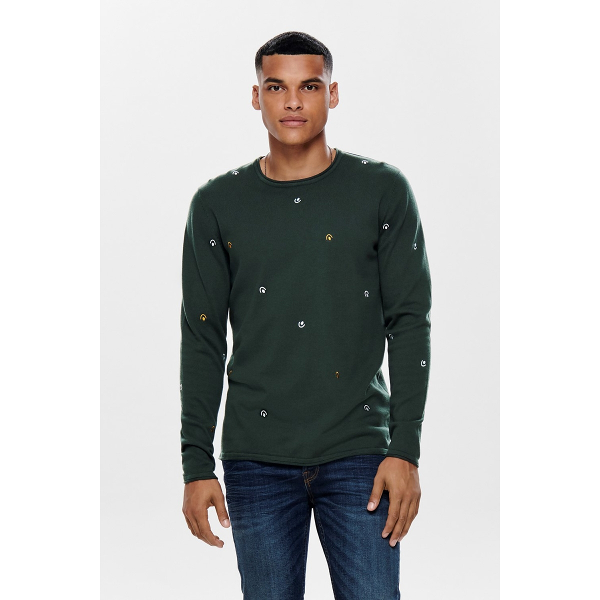 onsgarson 12 ao embroidery knit 22012590 only & sons trui darkest spruce