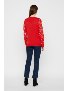 vmbell ls blouse nvl 10219212 vero moda trui chinese red/w. silver