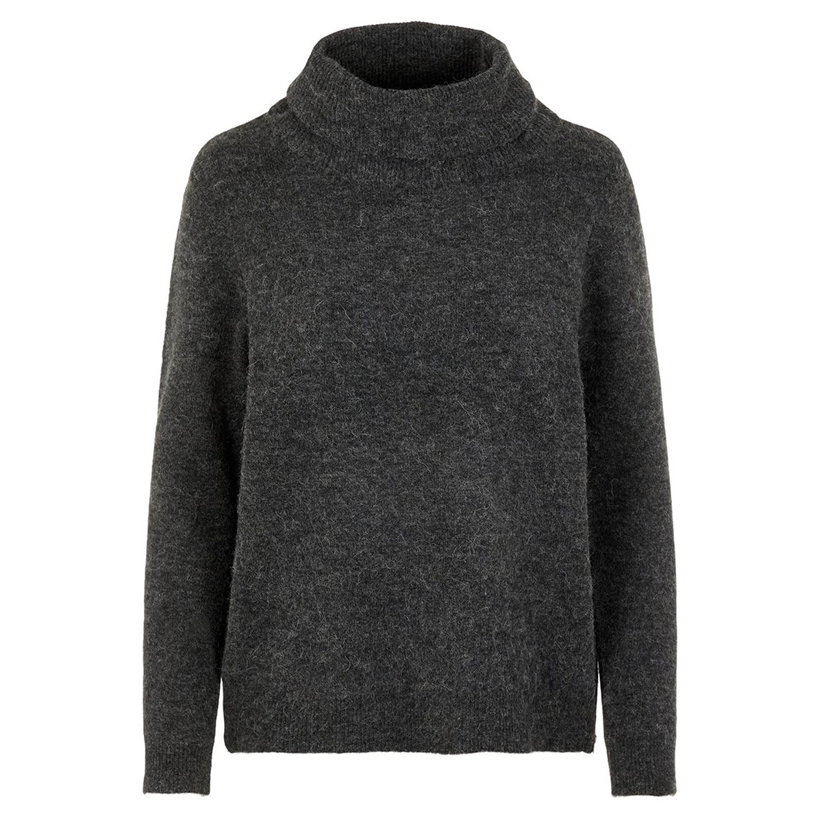 vmblakely iva ls cowl zip blouse bo 10215793 vero moda trui dark grey melange