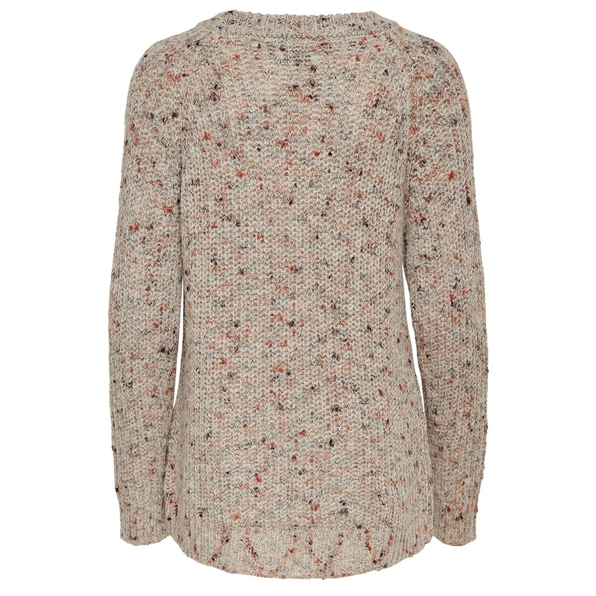 onlhanni l/s o-neck pullover knt 15184578 only trui light grey mela/w. multi co