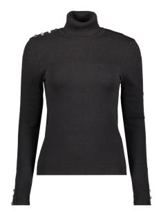 vmhappybutton ls rollneck blouse 10226875 vero moda trui black/w. silver