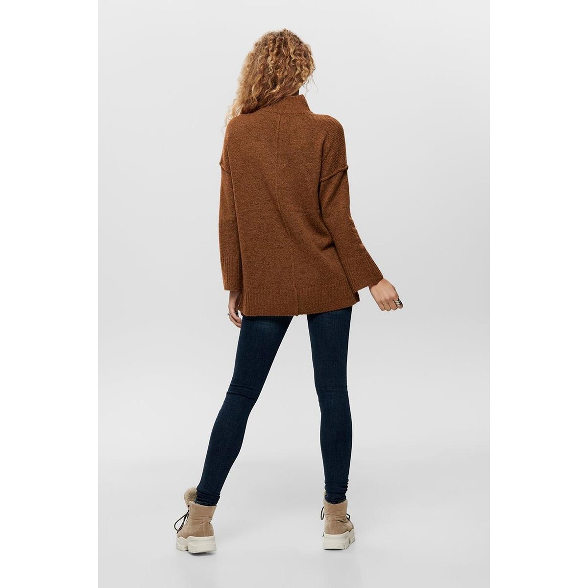 onlelaina l/s long pullover knt 15183701 only trui ginger bread/w. melange