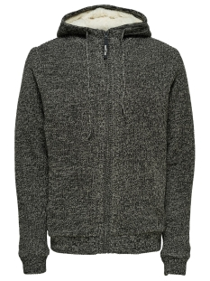 Only & Sons Vest ONSKENNETH 7 TEDDY  FULL ZIP KNIT R 22014134 Black