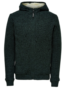 Only & Sons Vest ONSKENNETH 7 TEDDY  FULL ZIP KNIT R 22014134 Darkest Spruce