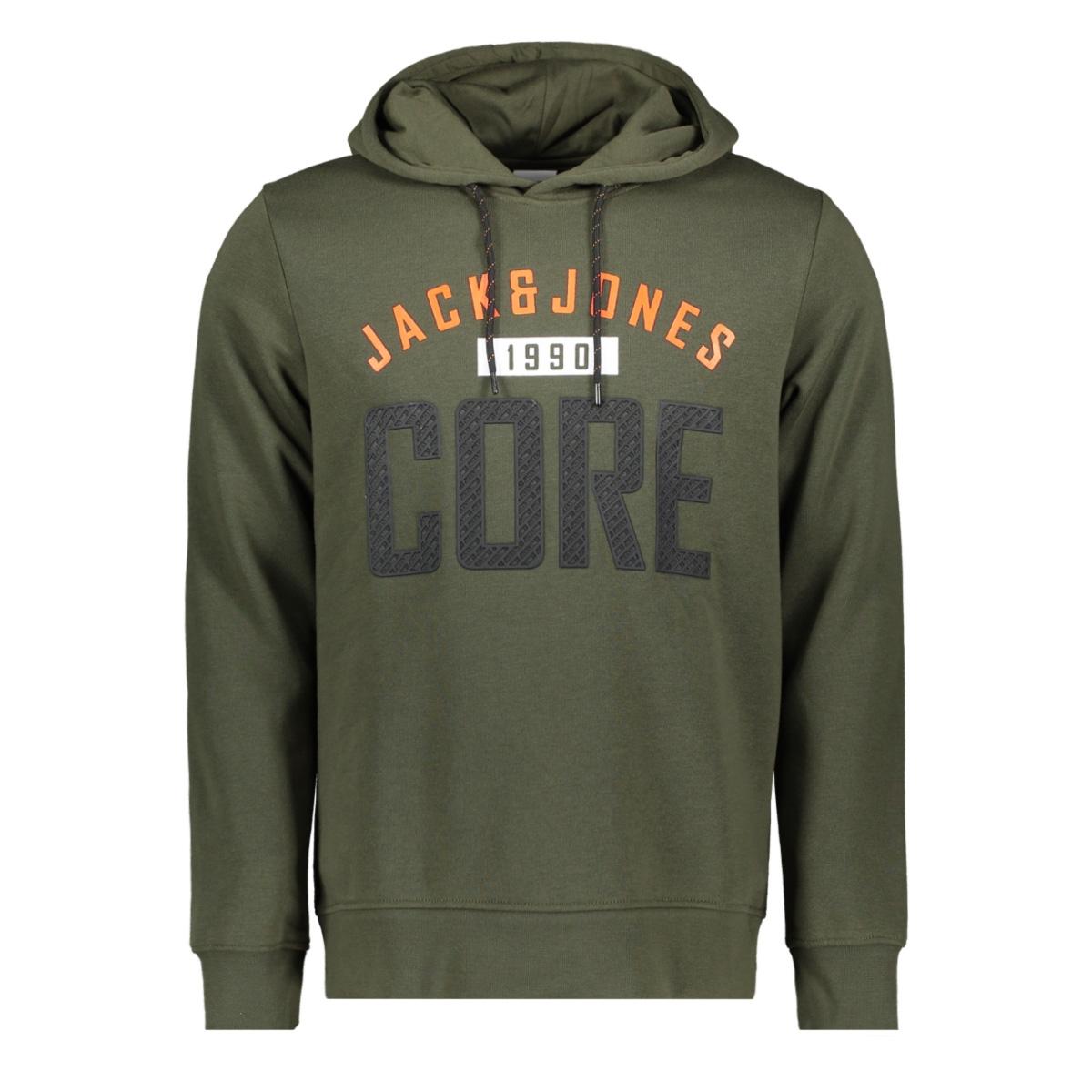 jcocarving sweat hood 12162132 jack & jones sweater forest night