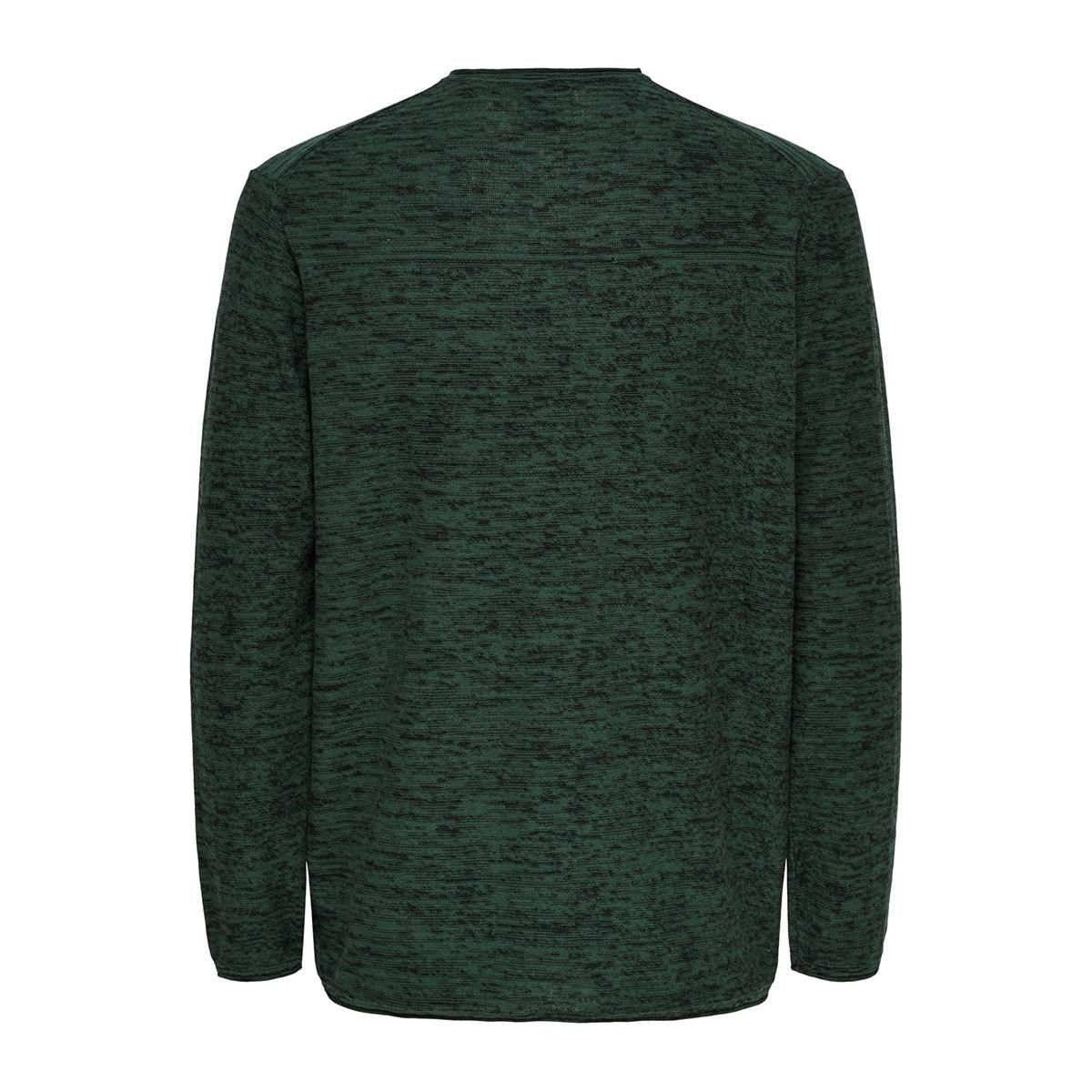 onsgarson 12 melange crew neck knit 22014420 only & sons trui trekking green