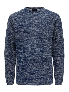 Only & Sons Trui ONSGARSON 12 MELANGE CREW NECK KNIT 22014420 Insignia Blue