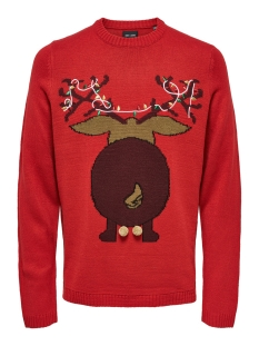 Only & Sons Trui onsXMAS 7 FUNNY BADGE JAQUARD KNIT 22014385 Pompeian Red/DEER BACK