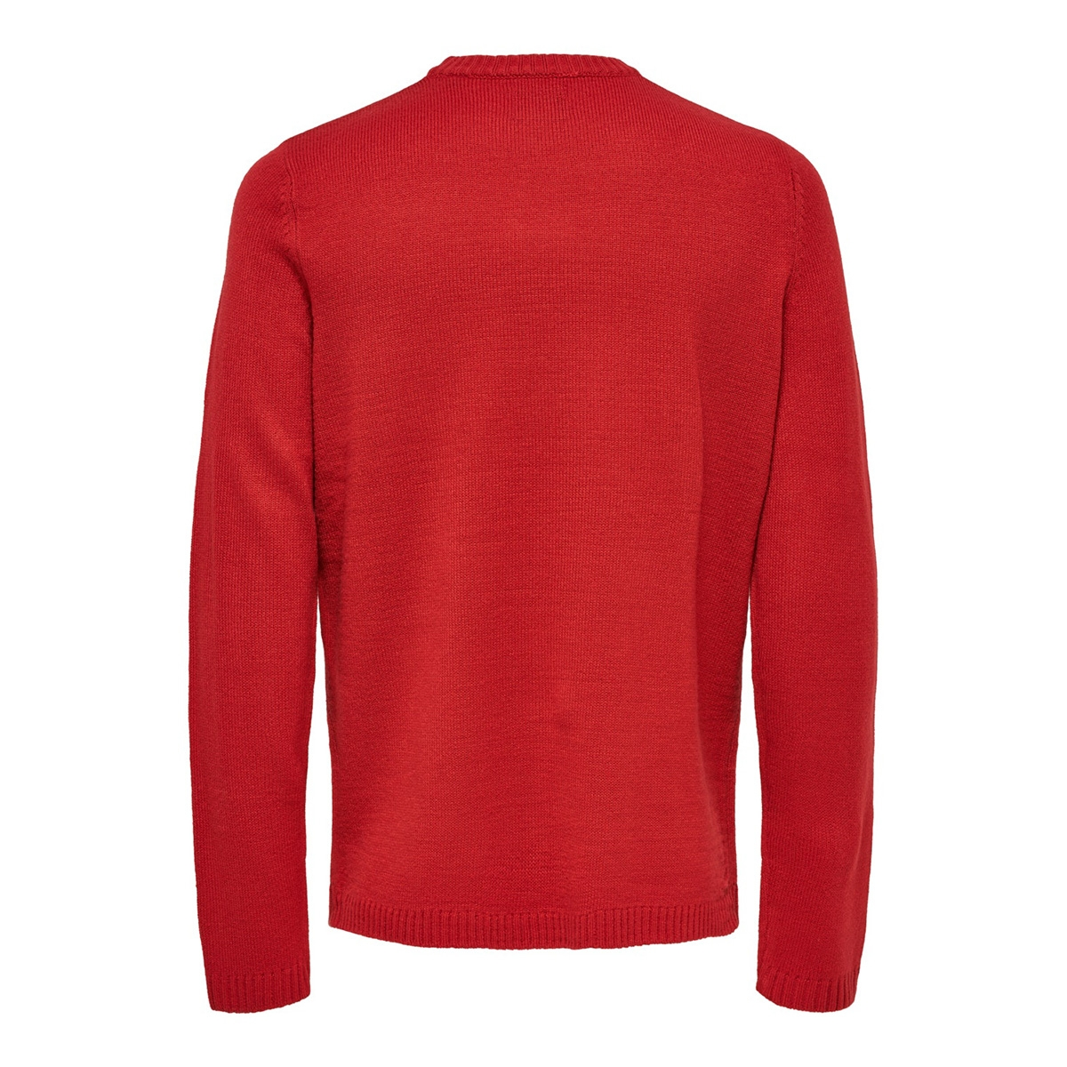 onsxmas 7 funny badge jaquard knit 22014385 only & sons trui pompeian red/deer back