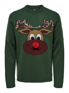 onsxmas 7 funny badge jaquard knit 22014385 only & sons trui cilantro/deer front