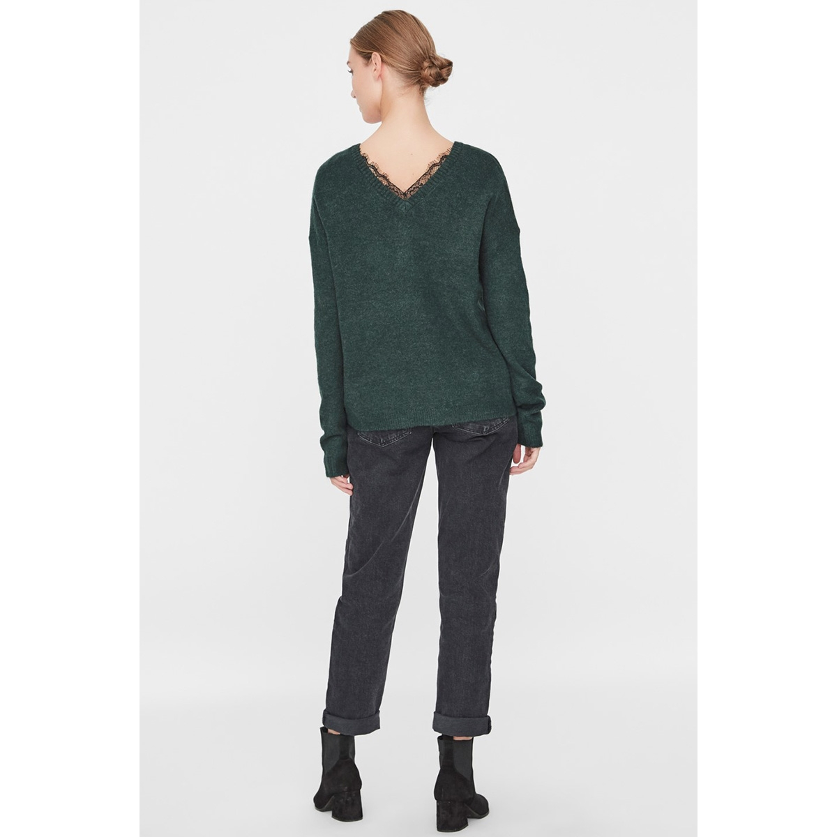 vmrana ls v-neck lace back blouse b 10217842 vero moda trui ponderosa pine/melange