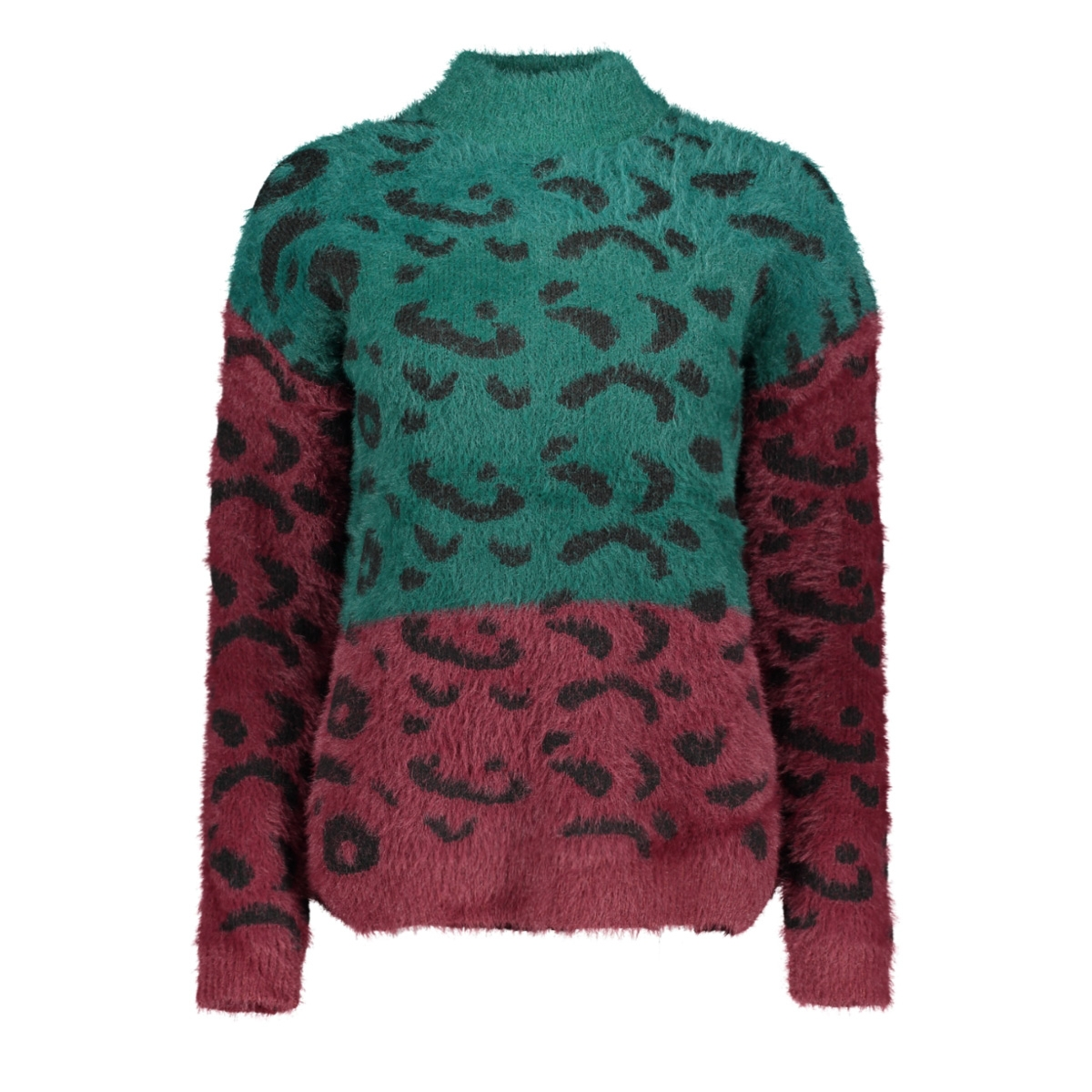 onleliz l/s highneck pullover knt 15183927 only trui forest biome/w.tawny po